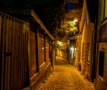 Visby by night, the street Vattugränd. Visby is situated on the island Gotland in the eastern part of Sweden.